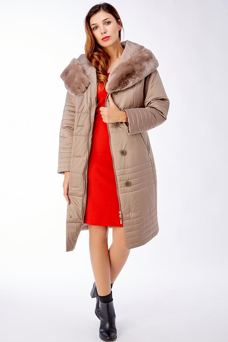 Длинное демисезонное женское пальто на тинсулейтеПальто<br>Длинное демисезонное женское пальто на тинсулейте<br>Цвет: кофейный; Размер: 42, 44, 48, 50, 52, 54, 56; Состав: 100% п/э; подкладка - 100% п/э; утеплитель - thinsulate; меховая отделка - кролик рекс; Материал: 100% п/э; подкладка - 100% п/э; утеплитель - thinsulate; меховая отделка - кролик рекс;