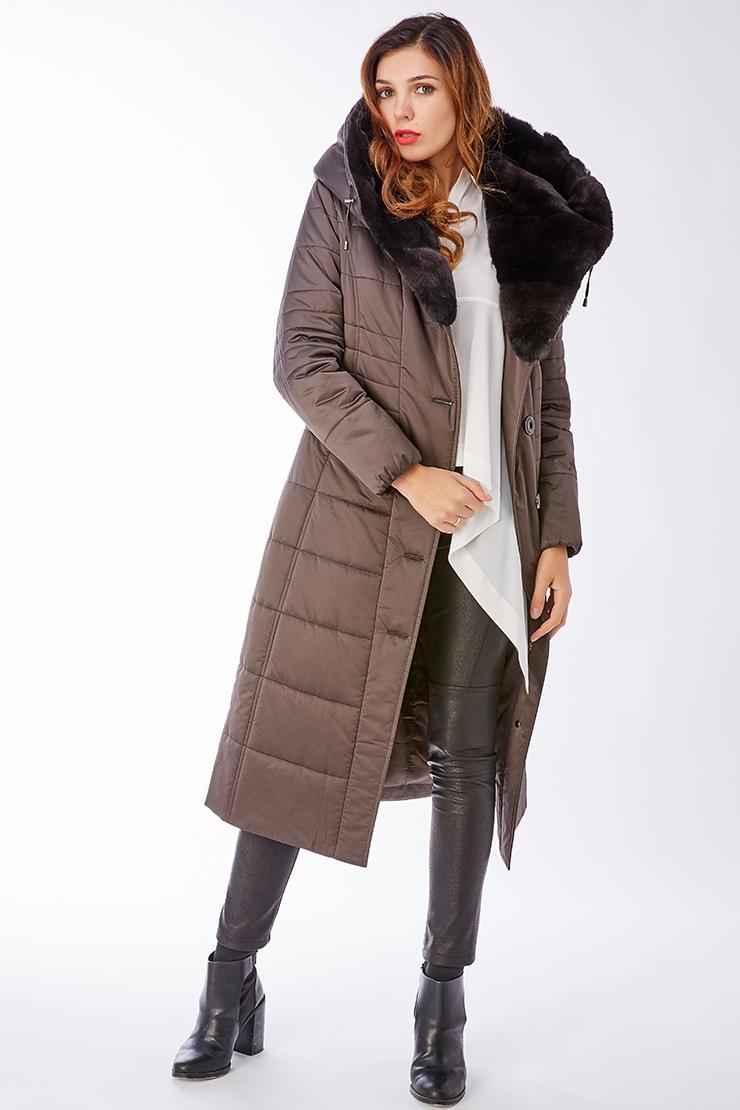 Утепленное длинное женское пальто с мехом кролика и капюшономПальто<br>Утепленное длинное женское пальто с мехом кролика и капюшоном<br>Цвет: темно-коричневый; Размер: 44, 46, 48, 56; Состав: 100% п/э; подкладка - 100% п/э; утеплитель - thinsulate; меховая отделка - кролик рекс; Материал: 100% п/э; подкладка - 100% п/э; утеплитель - thinsulate; меховая отделка - кролик рекс;