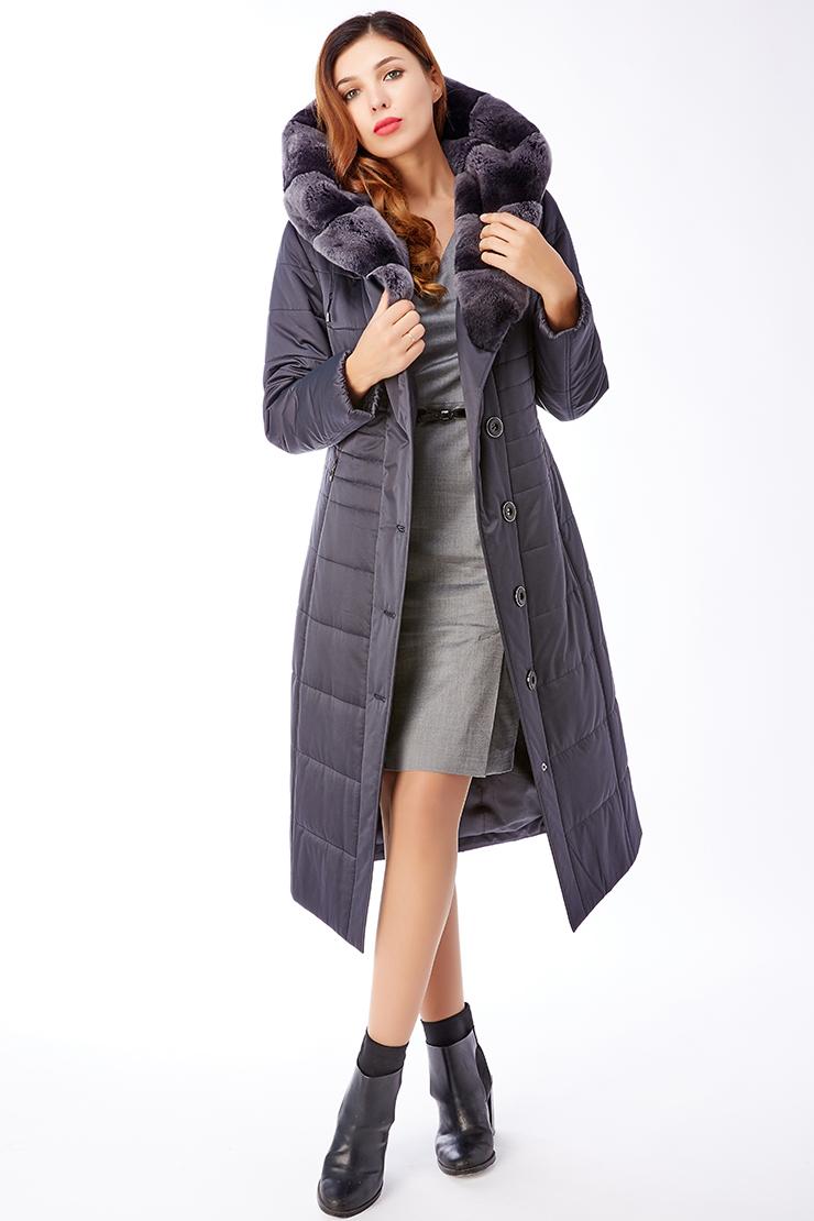 Длинное женское демисезонное пальто с мехом кролика рексПальто<br>Длинное женское демисезонное пальто с мехом кролика рекс<br>Цвет: темно-синий; Размер: 44, 46; Состав: 100% п/э; подкладка - 100% п/э; утеплитель - thinsulate; меховая отделка - кролик рекс; Материал: 100% п/э; подкладка - 100% п/э; утеплитель - thinsulate; меховая отделка - кролик рекс;