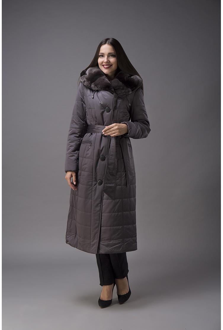 Женское пальто с меховым воротником из кроликаПальто<br>Женское пальто с меховым воротником из кролика<br>Цвет: серый; Размер: 46, 52; Состав: 100% п/э; . наполнитель - thinsulate; меховая отделка - кролик рекс; Материал: 100% п/э; . наполнитель - thinsulate; меховая отделка - кролик рекс;
