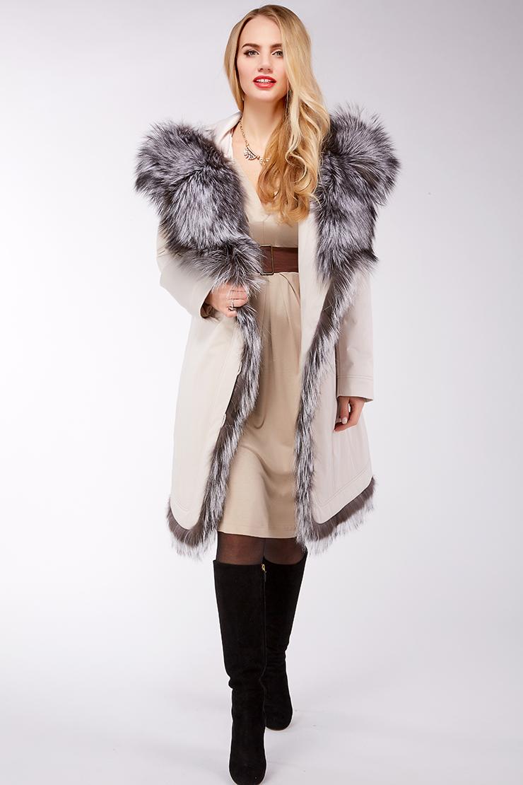 Итальянское пальто Garioldi с мехом чернобурки G455/2201-слон кость