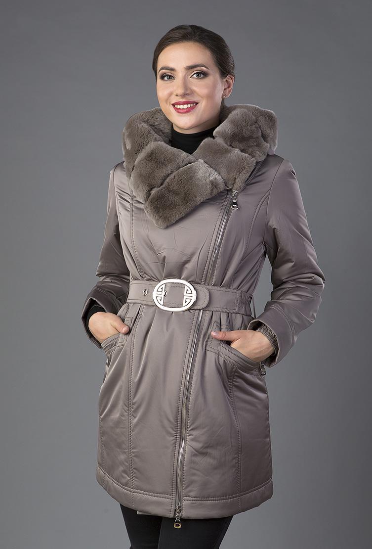 Укороченное демисезонное пальто на тинсулейте с асимметричной застежкой Garioldi G472/3223-кофейный