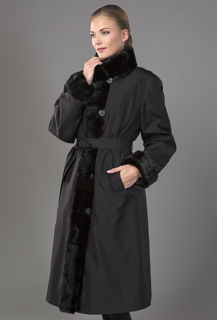 Шелковое пальто на меху кролика с отделкой из меха норкиПальто<br>Шелковое пальто на меху кролика с отделкой из меха норки<br>Цвет: черный; Размер: 48; Состав: Ткань верха - 100% шелк; подкладка меховая - кролик натуральный; меховая отделка - норка натуральная; Материал: Ткань верха - 100% шелк; подкладка меховая - кролик натуральный; меховая отделка - норка натуральная;