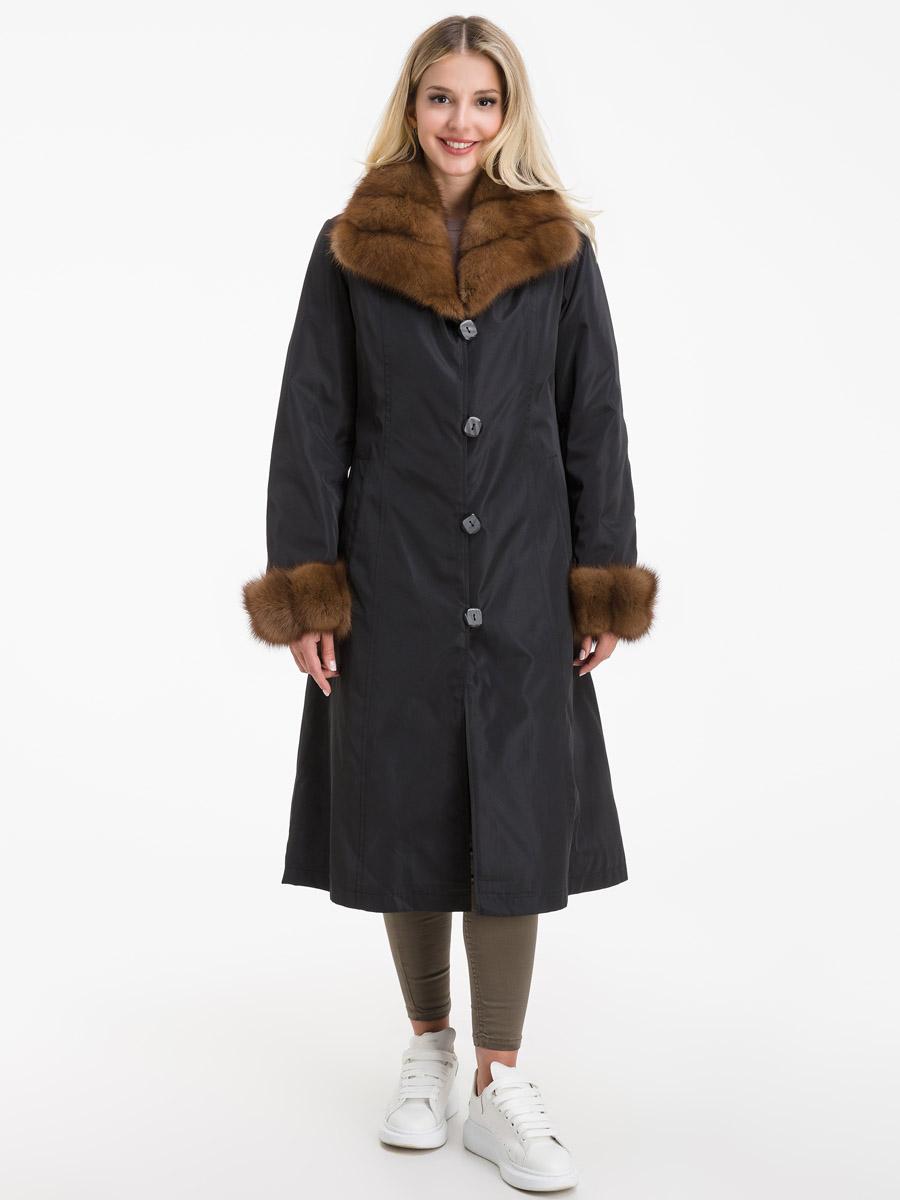 Женское зимнее пальто с меховым воротником из куницы Garioldi фото