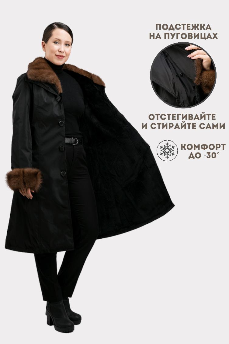 Расклешенное зимнее пальто с меховым воротником фото