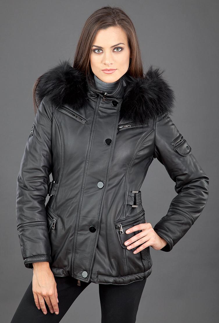 Утепленная кожаная женская куртка FLO-CLO с капюшоном фото