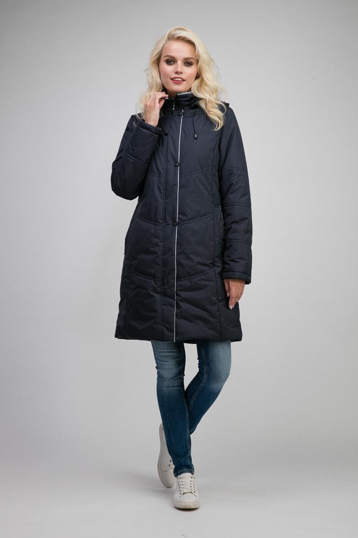 Женское пальто трапеция на осень с капюшономПальто<br>Женское пальто трапеция на осень с капюшоном<br>Цвет: темно-синий; Размер: 44, 46; Состав: 100% п/э; подкладка - 100% п/э; утеплитель - изософт; Материал: 100% п/э; подкладка - 100% п/э; утеплитель - изософт;