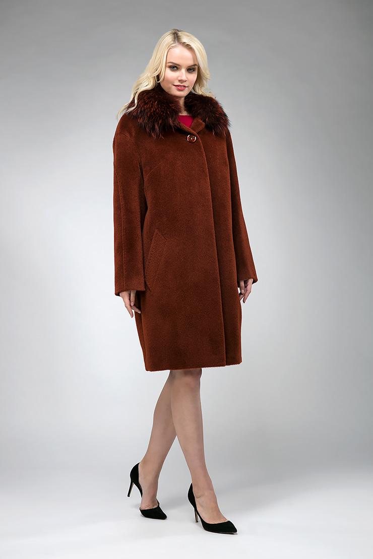 Пальто из альпака средней длины утепленное с мехом енотаПальто<br>Пальто из альпака средней длины утепленное с мехом енота<br>Цвет: терракот; Размер: 44, 46, 48, 50, 52, 54, 56, 58, 60, 62; Состав: 75% Suri alpaca (сури альпака) 25% шерсть;  подкладка - 100% вискоза; утеплитель - изософт; меховая отделка - енот; Материал: 75% Suri alpaca (сури альпака) 25% шерсть;  подкладка - 100% вискоза; утеплитель - изософт; меховая отделка - енот;