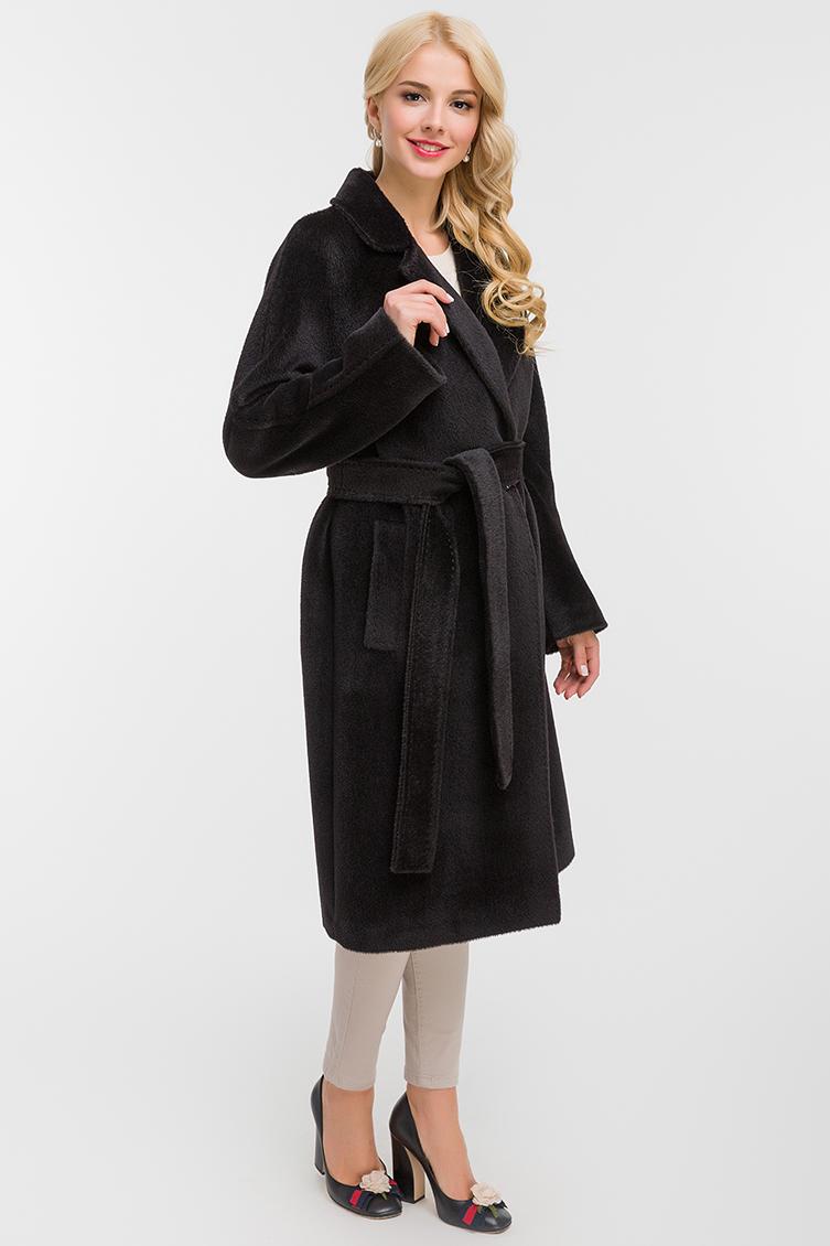 Длинное пальто из альпака с поясомПальто<br>Длинное пальто из альпака с поясом<br>Цвет: черный; Размер: 46, 48, 50, 52, 54; Состав: 75% Suri alpaca (сури альпака) 25% шерсть;  подкладка - 100% вискоза;; Материал: 75% Suri alpaca (сури альпака) 25% шерсть;  подкладка - 100% вискоза;;
