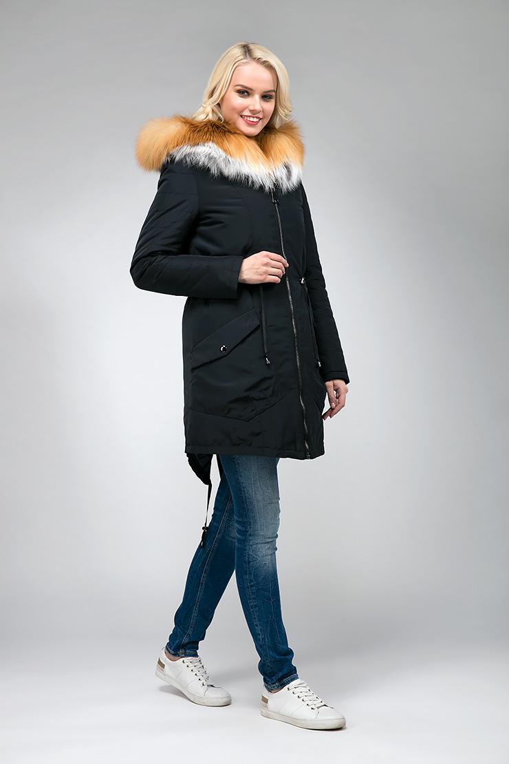 Стильная куртка парка на тинсулейте с мехом лисы Альбана