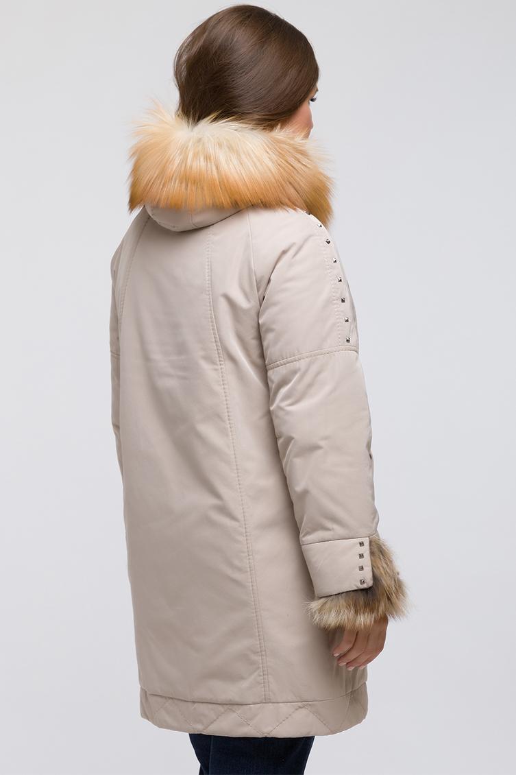 Утепленное пальто с мехом лисы для больших размеров