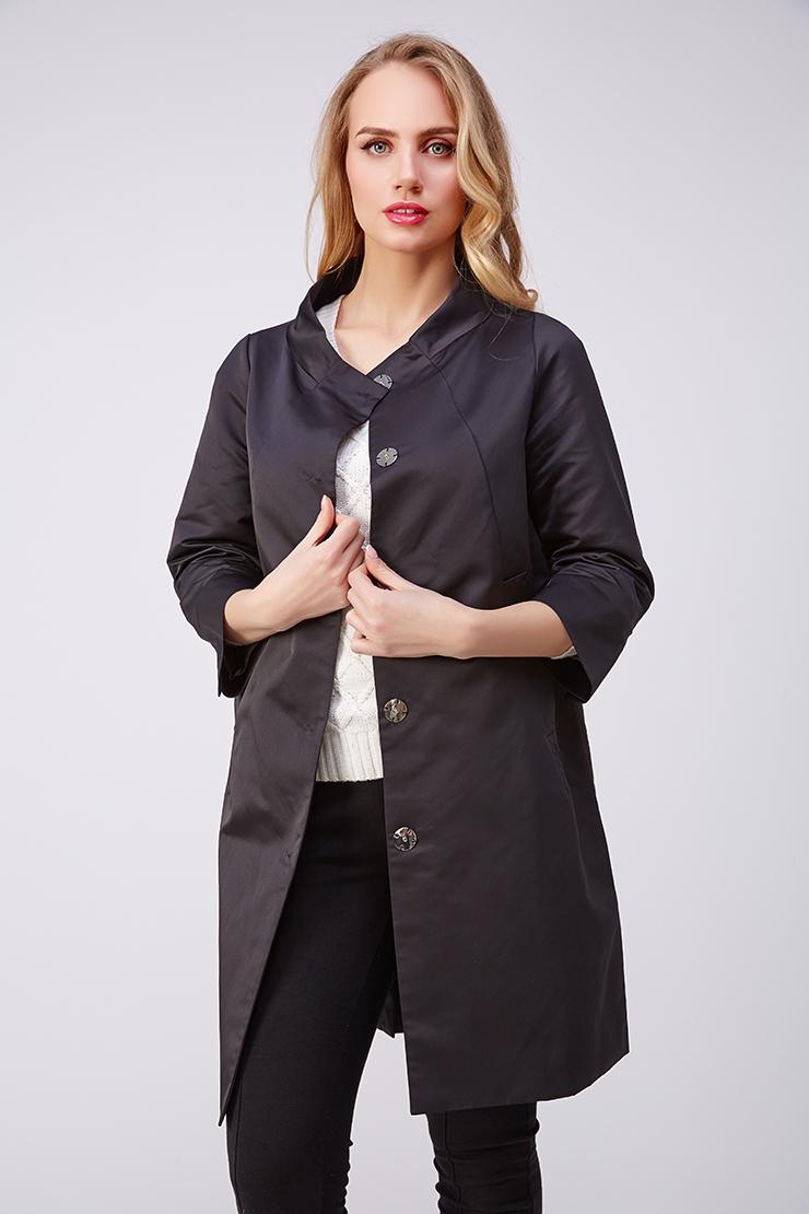 Черный женский плащ ADD с рукавом 3/4 LAW628/A39-черный