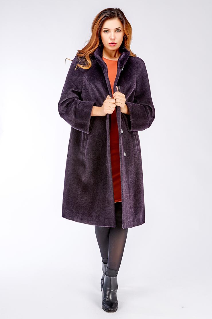 Фиолетовое пальто на высокий рост с воротником-стойкой. Производитель: Leoni Bourget, артикул: 23582