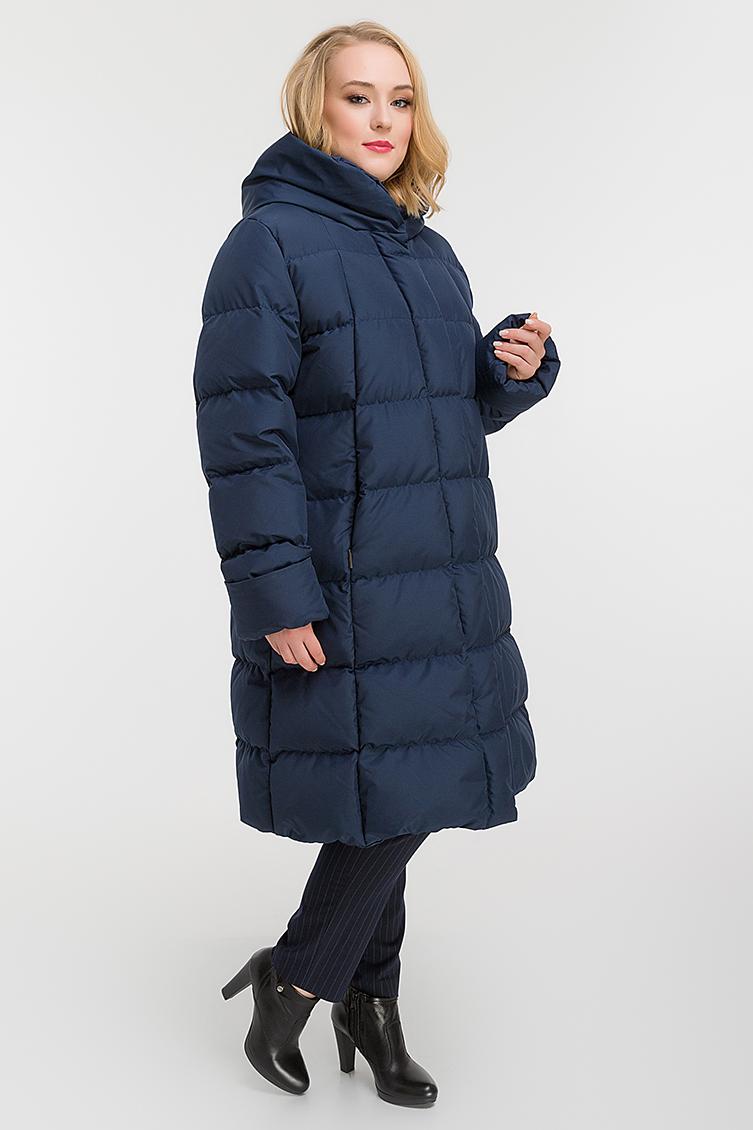 Зимний пуховик с капюшоном для больших размеров фото
