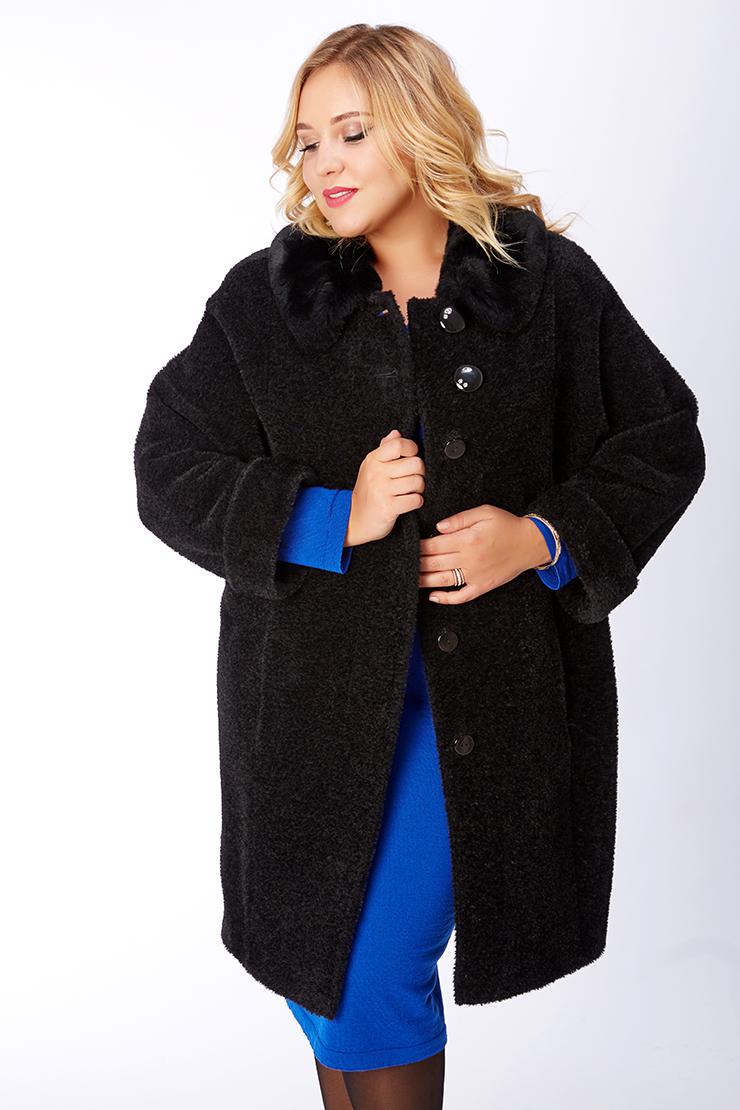 Черное женское пальто из альпака на большой размер. Производитель: Leoni Bourget, артикул: 22134