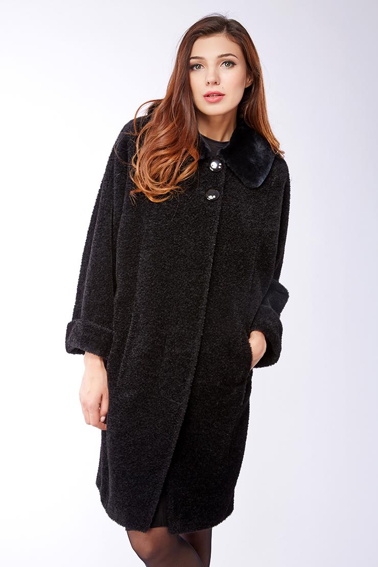 Российское пальто из альпака с мехом кролика Leoni Bourget Leila/01-черный