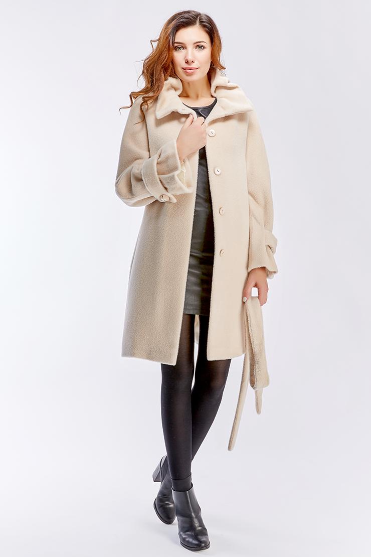 Пальто нежно-молочного цвета из альпака сури. Производитель: Leoni Bourget, артикул: 23593