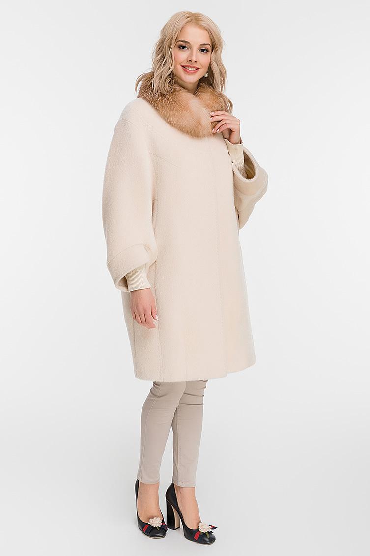 Утепленное пальто из альпака с мехом лисы фото