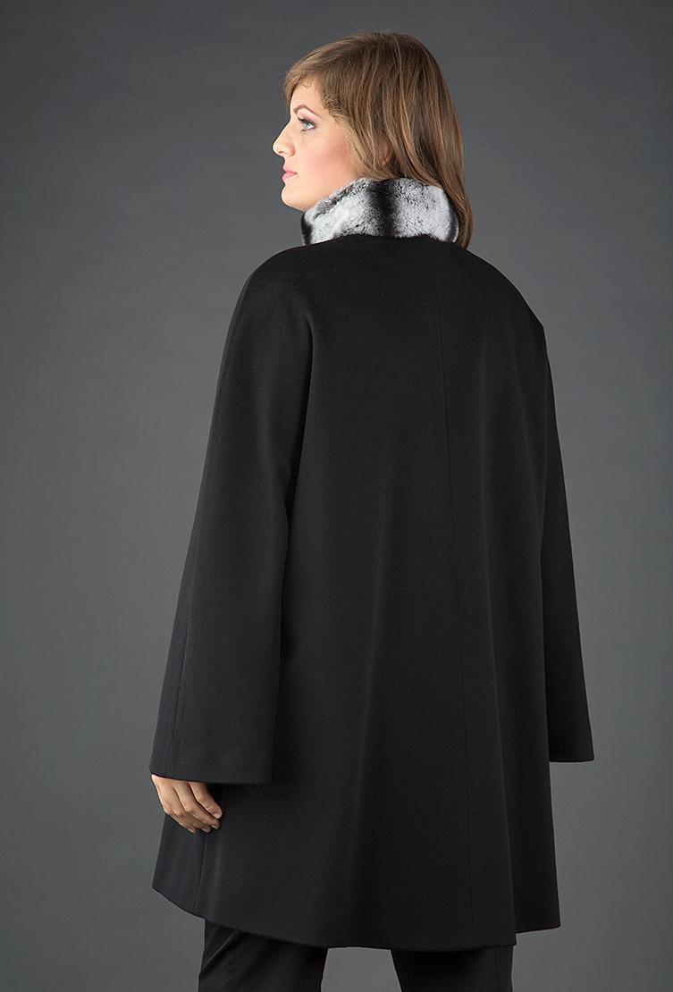 Черное женское пальто Heresis с воротником из кролика M02/H02-черный