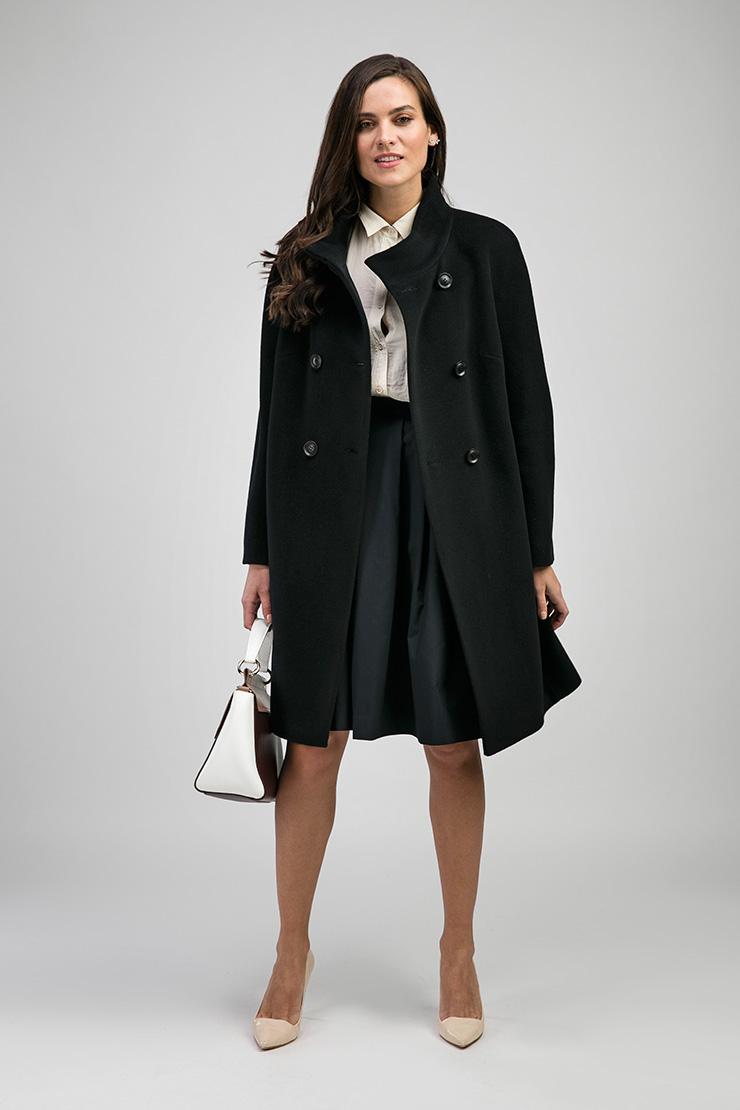 Черное пальто оверсайз из шерсти с кашемиром. Производитель: de Marse, артикул: 25381