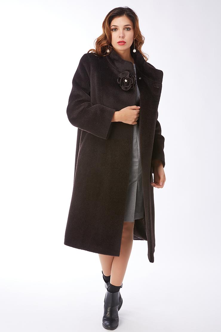 Расклешенное пальто с запахом из альпака для больших размеровПальто<br>Расклешенное пальто с запахом из альпака для больших размеров<br>Цвет: шоколад; Размер: 50, 54; Состав: 35% - сури, 35% - беби альпака, 30% - шерсть; подкладка - 55% вискоза, 45% п/э; Материал: 35% - сури, 35% - беби альпака, 30% - шерсть; подкладка - 55% вискоза, 45% п/э;