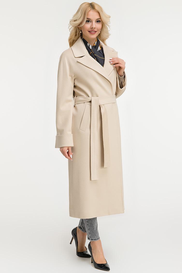Классическое бежевое пальто с запахом Heresis фото