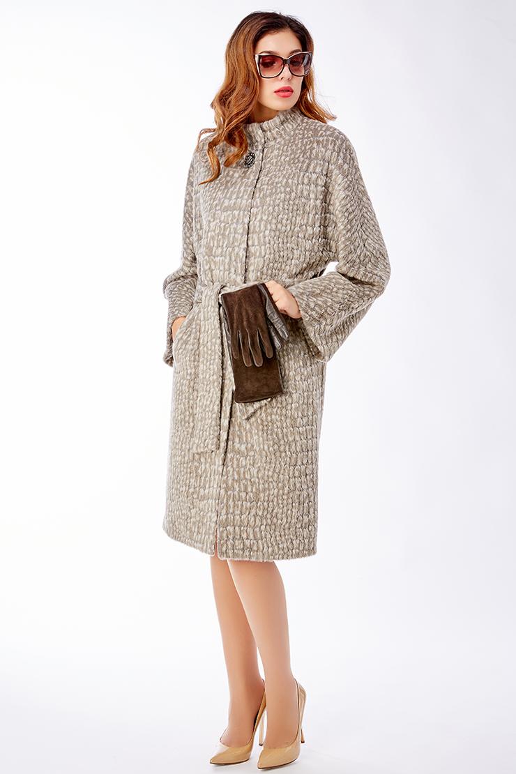 Элегантное пальто из альпака с воротником-стойкой
