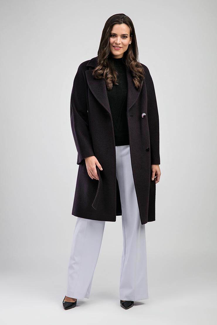 Фиолетовое женское пальто с английским воротником de Marse M151/06-фиолетовый