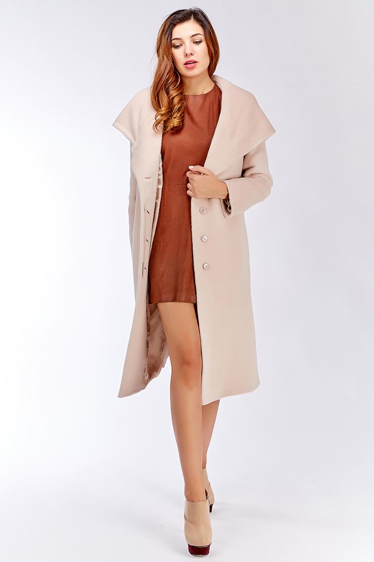 Демисезонное женское пальто длинное с капюшоном Elisabetta