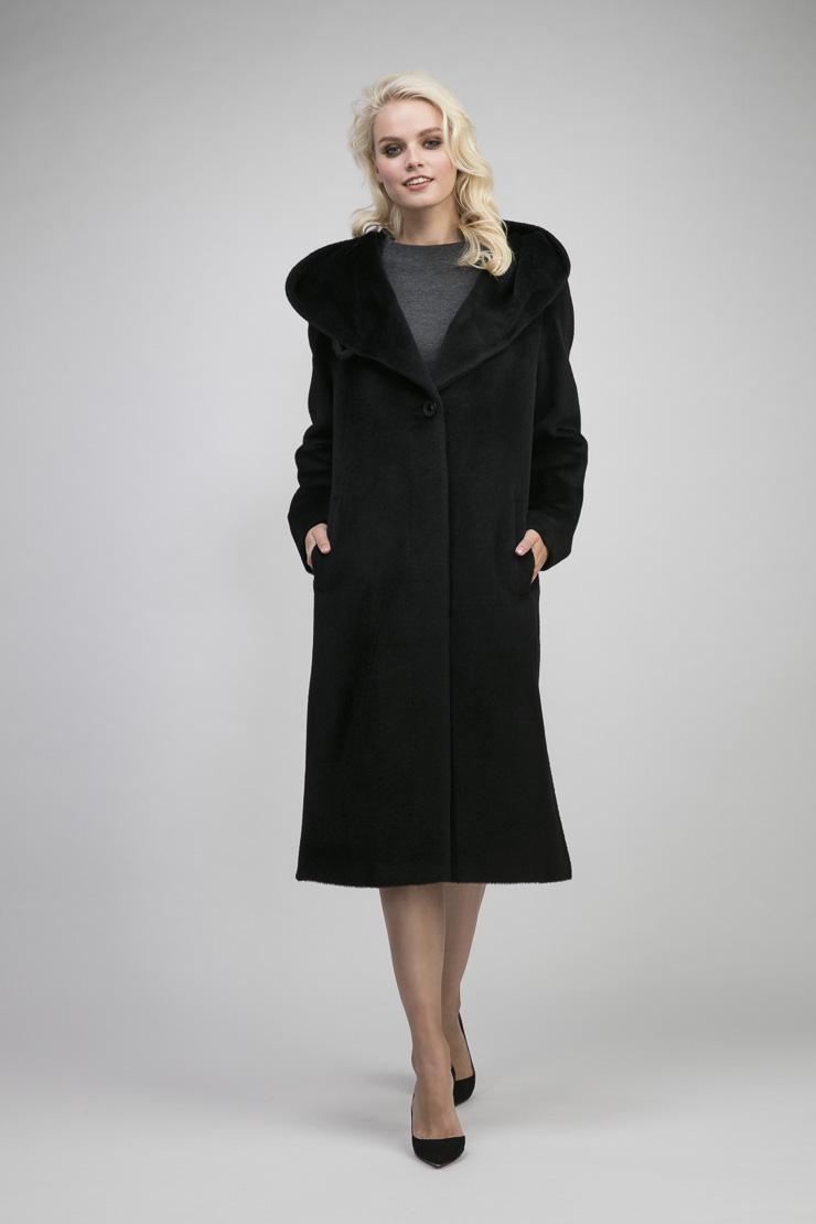 Длинное пальто из альпака с капюшономПальто<br>Длинное пальто из альпака с капюшоном<br>Цвет: черный; Размер: 48, 50, 52, 54; Состав: 35% - сури, 35% - беби альпака, 30% - шерсть; подкладка - 55% вискоза, 45% п/э; Материал: 35% - сури, 35% - беби альпака, 30% - шерсть; подкладка - 55% вискоза, 45% п/э;