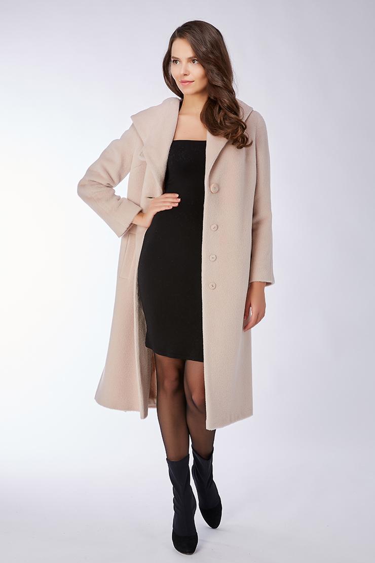 Женское длинное пальто на большой рост из альпака