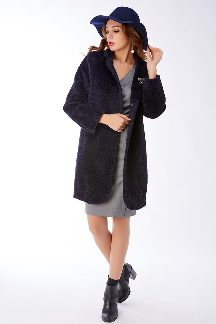 Женское пальто оверсайз темно-синего цвета Elisabetta E178/05-темно-синий
