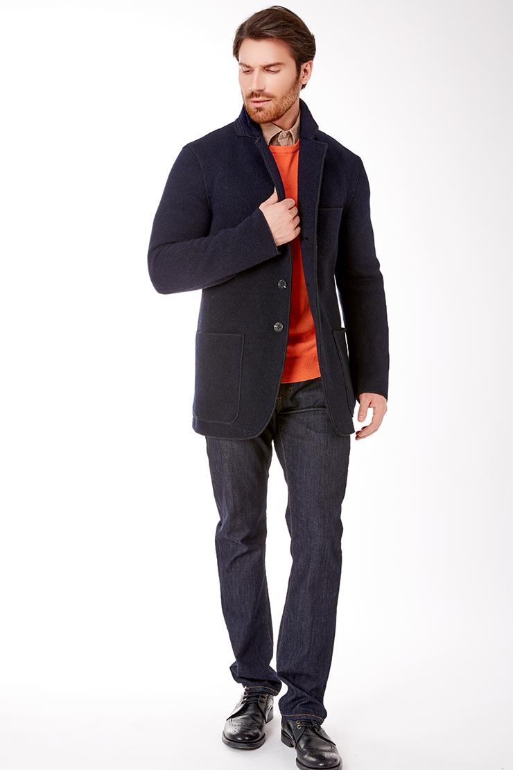 Синяя шерстяная куртка для мужчин пиджачного типа Vittorio Emmanule M1811/R02-синий