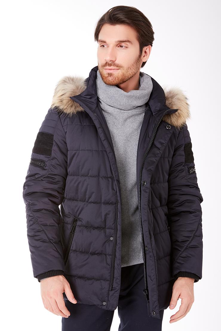 Удлиненная мужская куртка с горизонтальной простежкой Vittorio Emmanule M1816/R01-синий