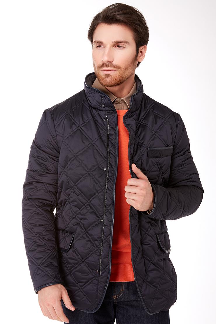 Модная короткая мужская куртка синего цвета с геометрической прострочкой Vittorio Emmanule M1901/R01-синий