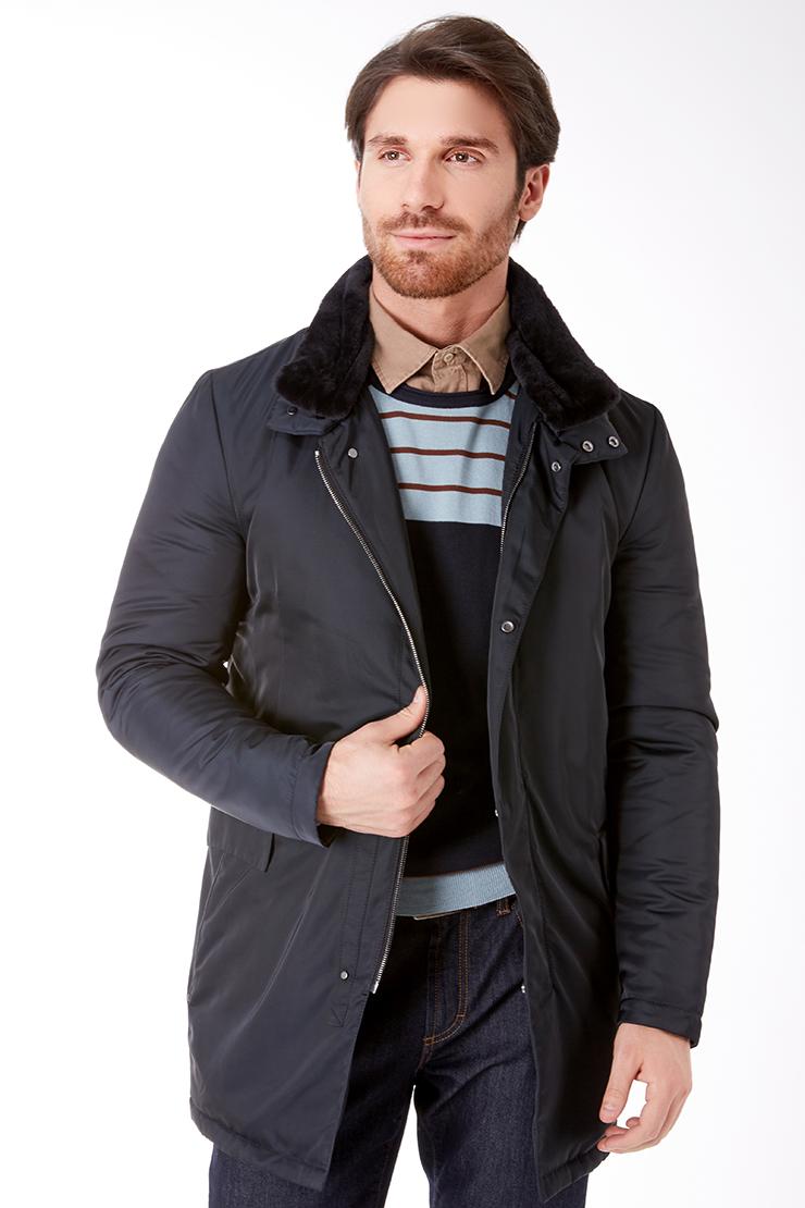 Темно-синяя длинная мужская куртка с мехом Vittorio Emmanule M1904/R09-синий