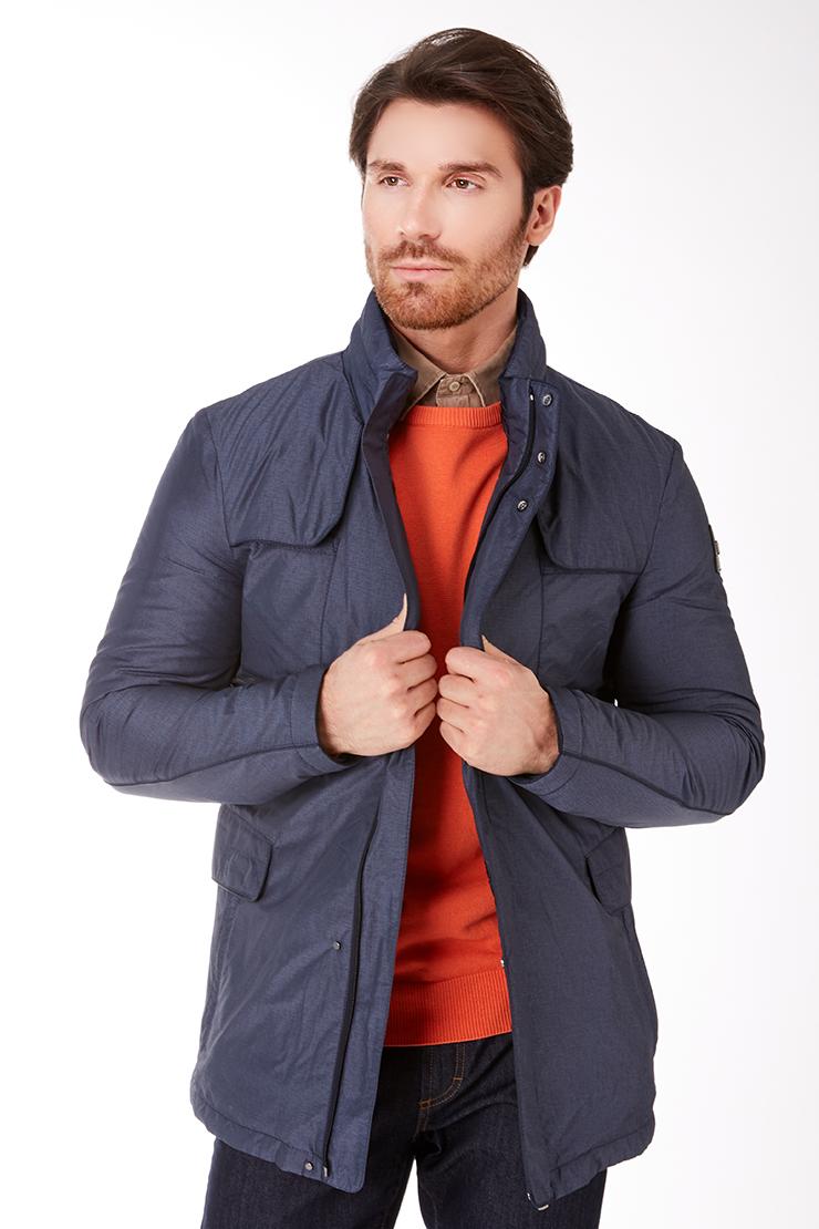Синяя утепленная мужская куртка российского производства Vittorio Emmanule M1905/R01-синий