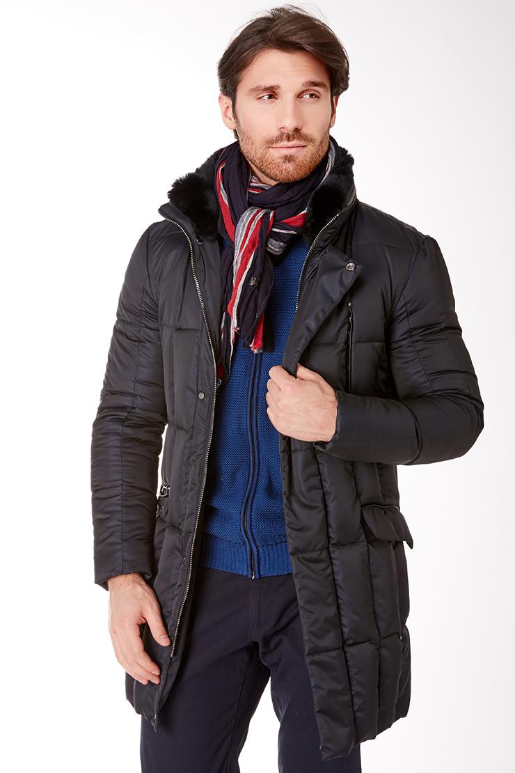 Стеганная длинная мужская куртка Vittorio Emmanule M1910/R10-синий
