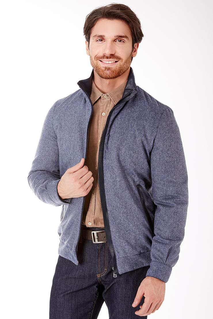 Короткая мужская куртка из шерсти с утеплителем Vittorio Emmanule M1917/R04-голубой