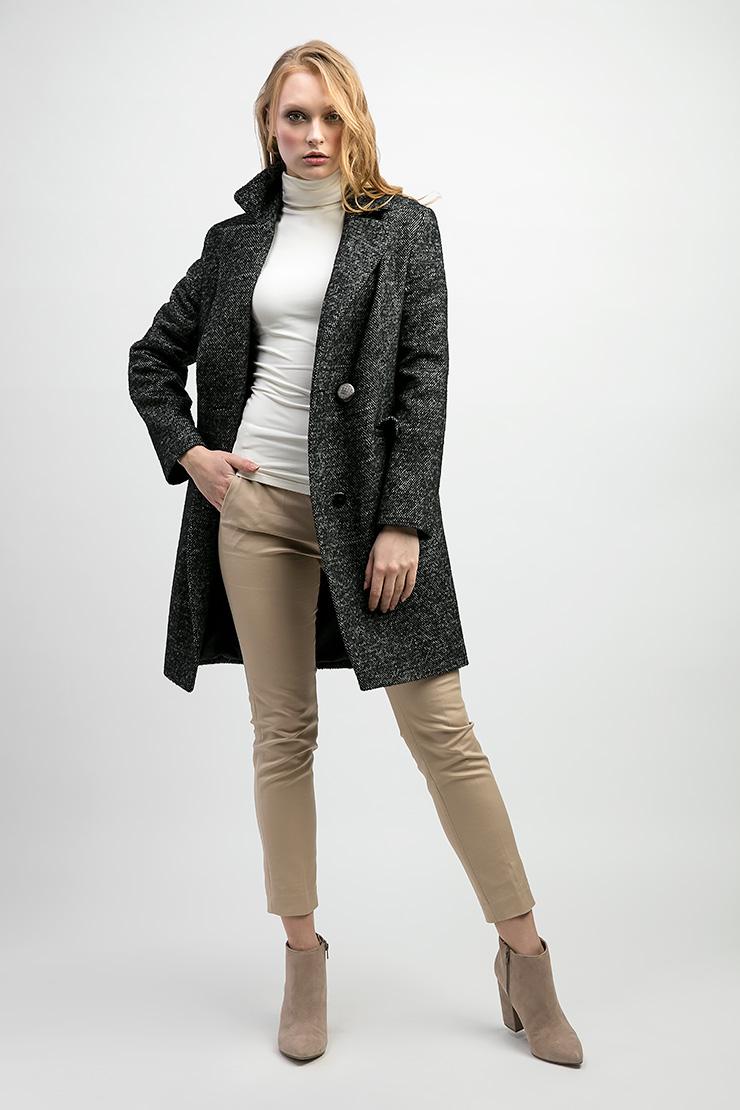 Шерстяное женское пальто пиджачного типа de Marse M206/01-черно-белый