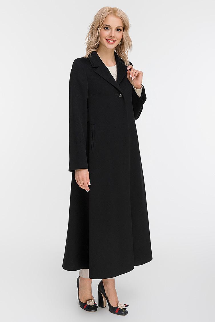 Длинное женское пальто трапеция на большой рост из шерсти фото