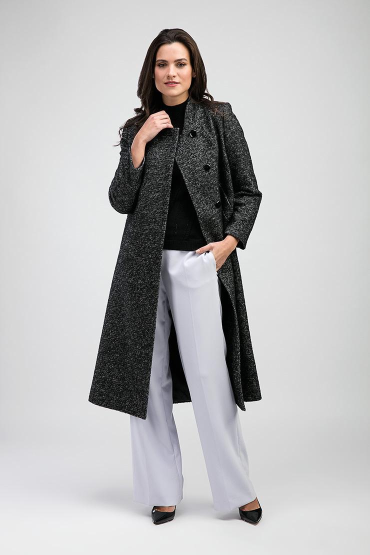 Женское пальто-трапеция с воротником-стойкой de Marse M502/01-черный