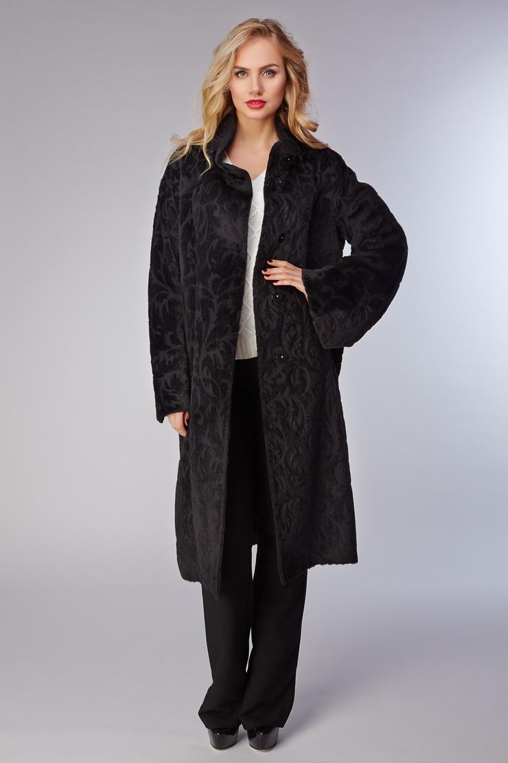 Женское длинное пальто без меха с узором по шерстиПальто<br>Женское длинное пальто без меха с узором по шерсти<br>Цвет: черный; Размер: 42, 44, 46, 48, 50; Состав: 75% альпака, 25% шерсть, подкладка - 100% вискоза; Материал: 75% альпака, 25% шерсть, подкладка - 100% вискоза;