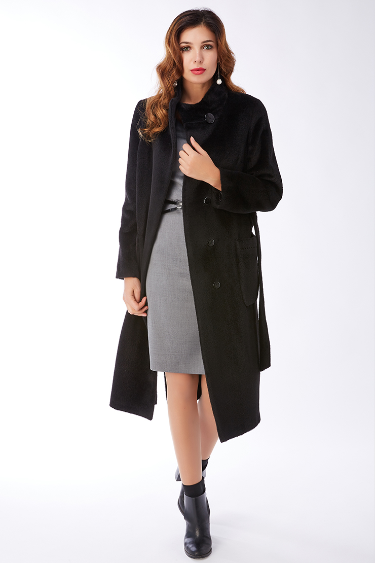 Длинное женское пальто из альпака с воротником-стойкой de Marse M601/02-черный