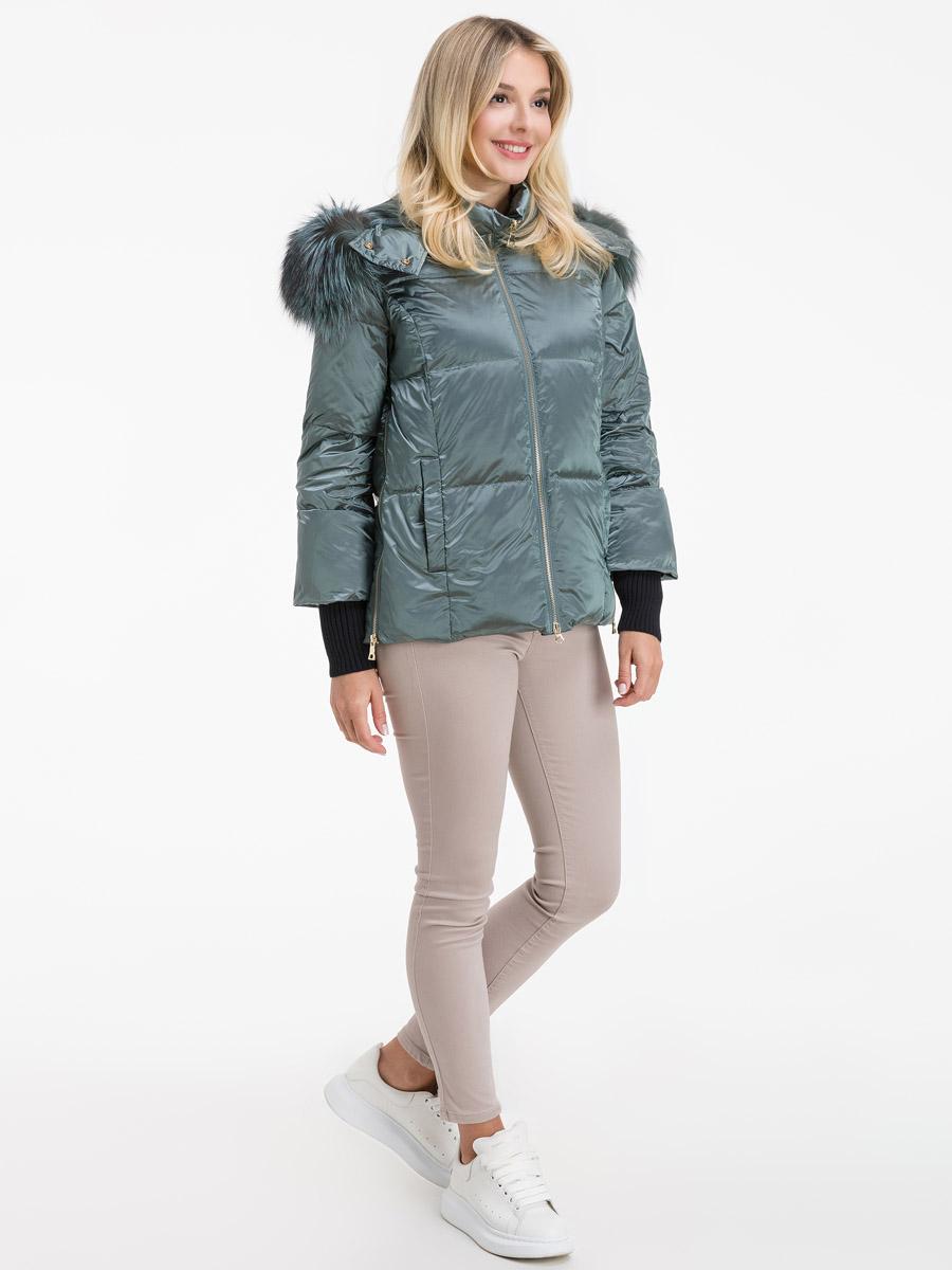 Пуховая куртка с мехом чернобурки фото