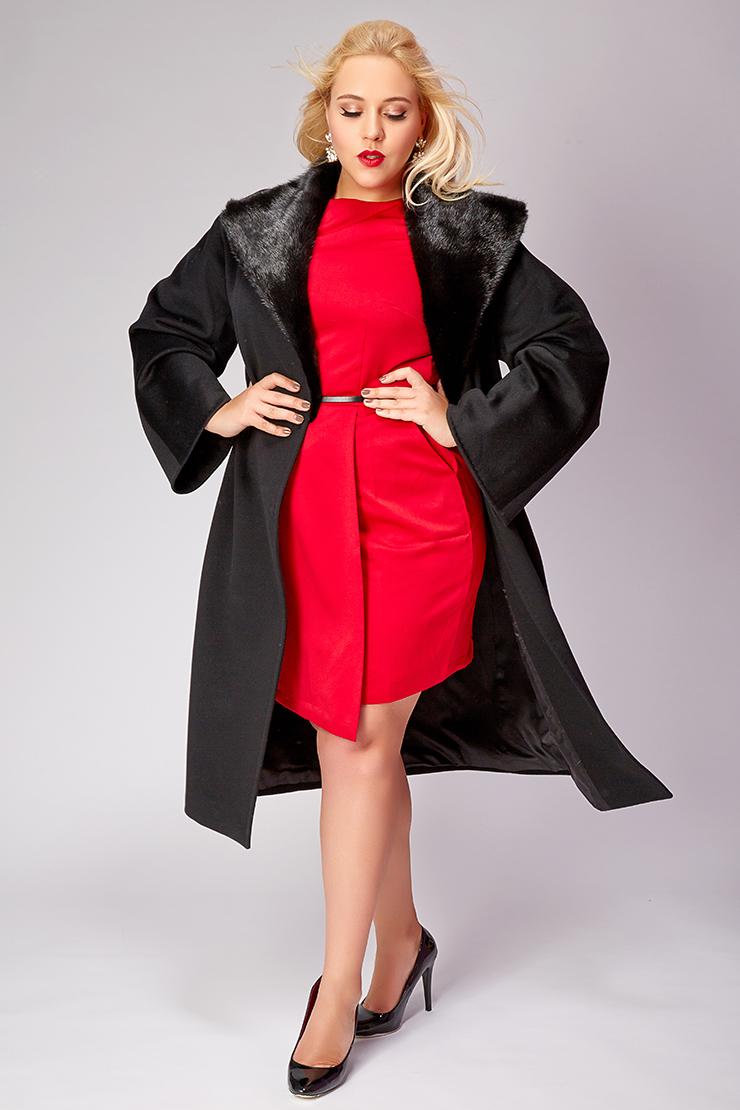Длинное черное пальто Heresis большого размера с норкой фото