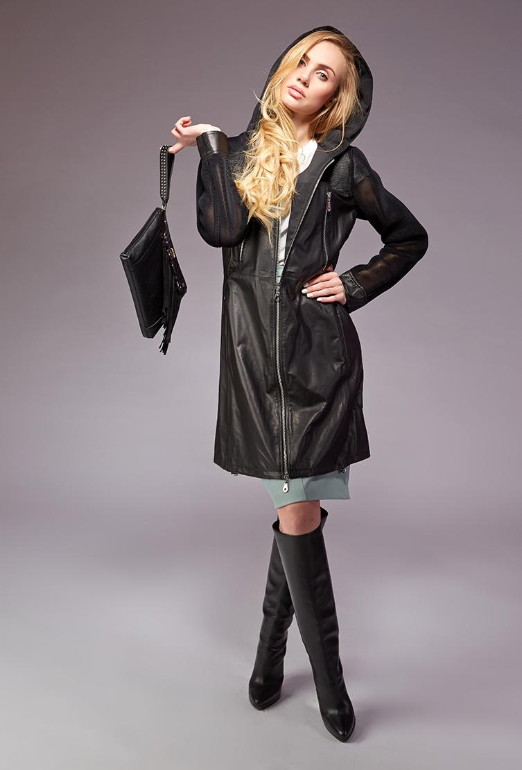 Черный кожаный плащ AFG MARINA/L60_-черный