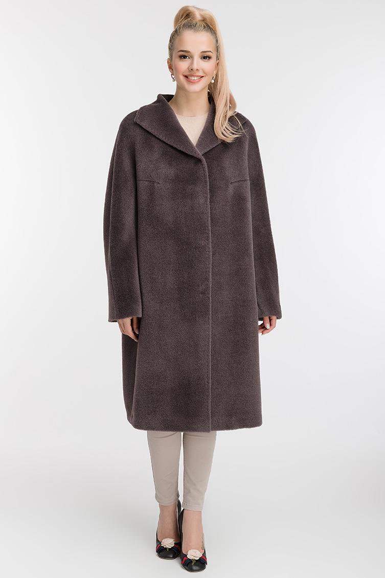 Женское пальто О-силуэта без капюшона фото