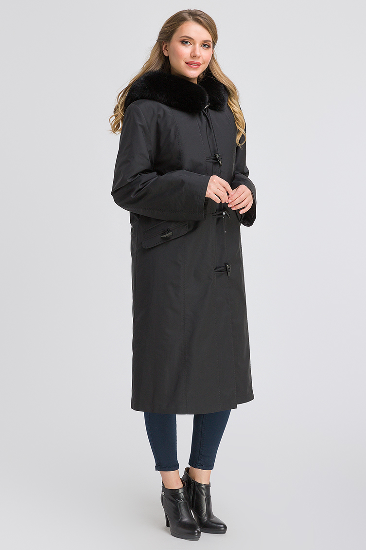 Зимнее прямое пальто на кролике для большого размера фото