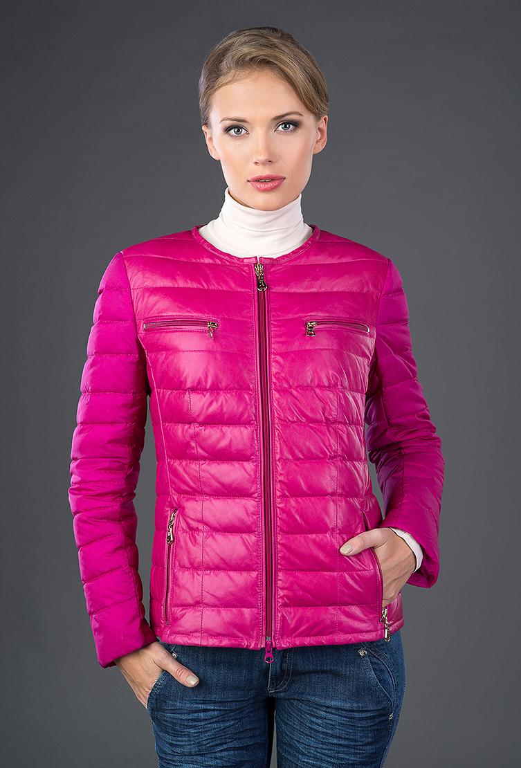 Кожаная стеганая куртка на пуху AFG цвета фуксии. Производитель: AFG, артикул: 13108